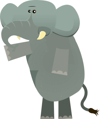A cartoon elephant stands while pointing to the left